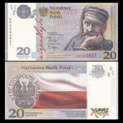 POLOGNE - Billet de 20 Złotych - 100 ans de l'indépendance polonaise (1918-2018)