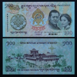 BHOUTAN - Billet de 100 Ngultrum - Mariage Royal - 2011