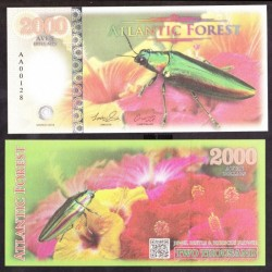ATLANTIC FOREST - Billet de 2000 Aves - Buprestidae - 2016