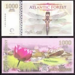 ATLANTIC FOREST - Billet de 1000 Aves - Buprestidae - 2016 1000 AVES