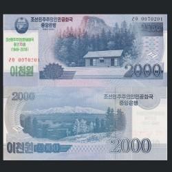 COREE DU NORD - Billet de 2000 Won - 70 Ans de l'indépendance - 2018