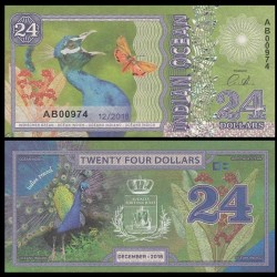 OCEAN INDIEN / INDIAN OCEAN - Billet de 24 DOLLARS - Paon bleu - 2018