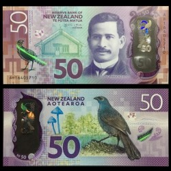 NOUVELLE ZELANDE - Billet de 50 Dollars - Oiseau Glaucope cendré - Polymer - 2016