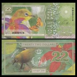 OCEAN INDIEN / INDIAN OCEAN - Billet de 22 DOLLARS - Zostérops oriental - 2018 0022