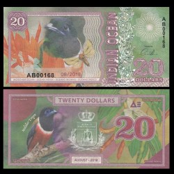OCEAN INDIEN / INDIAN OCEAN - Billet de 20 DOLLARS - Trogon de Malabar - 2018