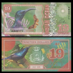 OCEAN INDIEN / INDIAN OCEAN - Billet de 19 DOLLARS - Souimanga pourpré - 2018 0019