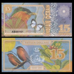 OCEAN INDIEN / INDIAN OCEAN - Billet de 15 DOLLARS - Étourneau des pagodes - 2018