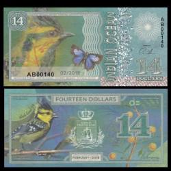 OCEAN INDIEN / INDIAN OCEAN - Billet de 14 DOLLARS - Parus aplonotus - 2018