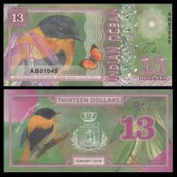 OCEAN INDIEN / INDIAN OCEAN - Billet de 13 DOLLARS - Gobemouche orange et noir - 2018