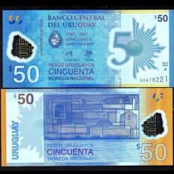 URUGUAY - Billet de 50 Pesos Uruguayos - POLYMER - 50 Ans de la banque centrale - 2017/2018 P100a