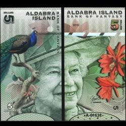 ALDABRA ISLAND - Billet de 5 DOLLARS - Série Oiseaux - Reine Elisabeth II - 2018