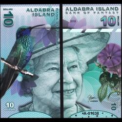 ALDABRA ISLAND - Billet de 10 DOLLARS - Série Oiseaux - Reine Elisabeth II - 2018
