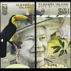 ALDABRA ISLAND - Billet de 20 DOLLARS - Série Oiseaux - Reine Elisabeth II - 2018
