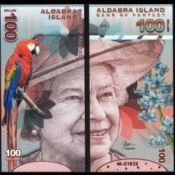 ALDABRA ISLAND - Billet de 100 DOLLARS - Série Oiseaux - Reine Elisabeth II - 2018