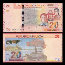 BOLIVIE - Billet de 20 Bolivianos - Caiman noir - 2018 P249a