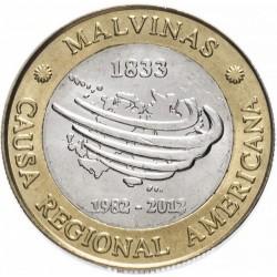ARGENTINE - PIECE de 2 Pesos - Trentenaire de la Guerre des Malouines - 2012 Km#176