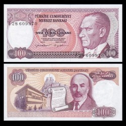 TURQUIE - Billet de 100 Livre turque - Mehmed Akif Ersoy - 1984 / 1989 P194b