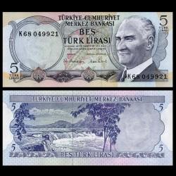 TURQUIE - Billet de 5 Lire turque - Chutes d'eau de Manavgat - 1970