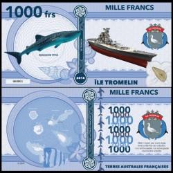ILE TROMELIN - Billet de 1000 Francs - Série Requin: Requin-baleine - 2018