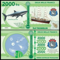 ILE TROMELIN - Billet de 2000 Francs - Série Requin: Grand requin blanc - 2018