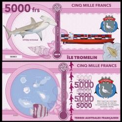 ILE TROMELIN - Billet de 5000 Francs - Série Requin: Requin marteau - 2018