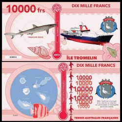 ILE TROMELIN - Billet de 10000 Francs - Série Requin: Requin-corail - 2018