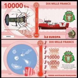 ILE EUROPA - Billet de 10000 Francs - Langouste peinte - 2018