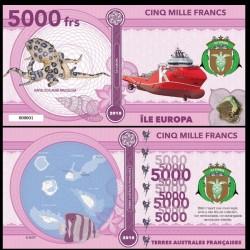ILE EUROPA - Billet de 5000 Francs - Pieuvre aux anneaux bleus - 2018