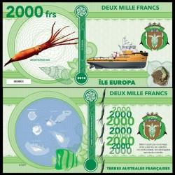 ILE EUROPA - Billet de 2000 Francs - Calmar géant - 2018