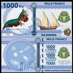 ILE EUROPA - Billet de 1000 Francs - Crevette-mante paon - 2018