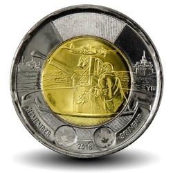 CANADA - PIECE de 2 DOLLARS - Bataille de l'Atlantique - 2016 Km#2103