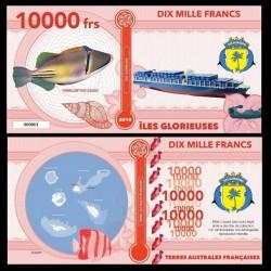 ILES GLORIEUSES - Billet de 10000 Francs - Série Poissons: Baliste picasso - 2018