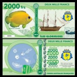 ILES GLORIEUSES - Billet de 2000 Francs - Série Poissons: Centropyge flavissima - 2018