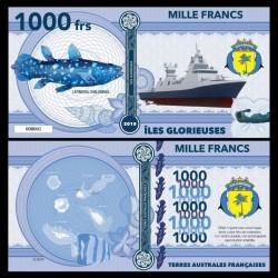 ILES GLORIEUSES - Billet de 1000 Francs - Série Poissons: Cœlacanthe - 2018