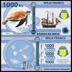 BASSAS DA INDIA - Billet de 1000 Francs - Série Tortues: Tortue verte - 2018