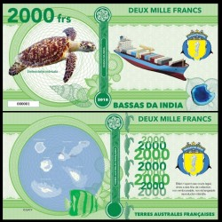 BASSAS DA INDIA - Billet de 2000 Francs - Série Tortues: Tortue imbriquée - 2018