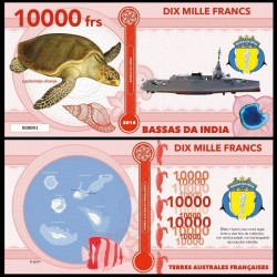 BASSAS DA INDIA - Billet de 10000 Francs - Série Tortues: Tortue olivâtre - 2018