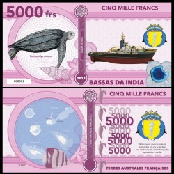 BASSAS DA INDIA - Billet de 5000 Francs - Série Tortues: Tortue luth - 2018