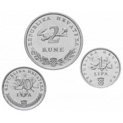 CROATIE - SET / LOT de 3 PIECES de 1 20 LIPA 2 Kune - 1995 - FAO