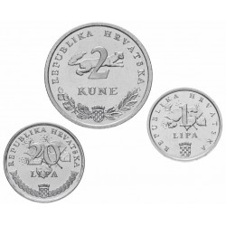 CROATIE - SET / LOT de 3 PIECES de 1 20 LIPA 2 Kune - 1995 - FAO