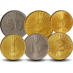 MACEDOINE DU NORD - SET / LOT de 6 PIECES de 1 2 5 10 50 100 Denari - 1993 2008