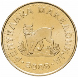 MACEDOINE DU NORD - PIECE de 5 Denari - Lynx - 2008 Km#4