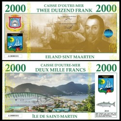 SAINT MARTIN / SINT MAARTEN - Billet de 2000 Francs - Barracuda - 2018