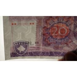 KOSOVO - Billet de 20 Dinara - SPECIMEN - 2016