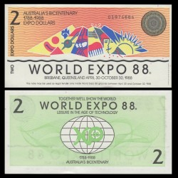 AUSTRALIE - Billet de 2 Dollars - Exposition mondiale - 1988
