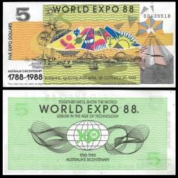 AUSTRALIE - Billet de 5 Dollars - Exposition mondiale - 1988
