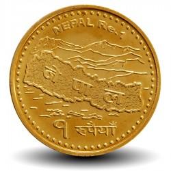 NEPAL - PIECE de 1 Roupie - Carte du Népal - 2009 - २०६६ Km#1204