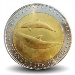 TRISTAN DA CUNHA - PIECE de 25 Pence - Dauphins - 2008 Km#33
