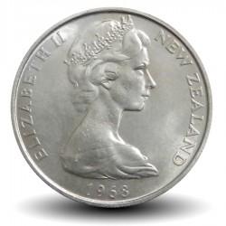 NOUVELLE ZELANDE - PIECE de 10 Cents / 1 Shilling - masque Maori - 1968