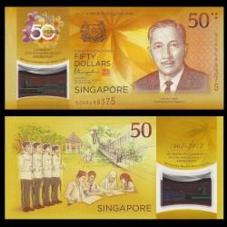SINGAPOUR - Billet de 50 DOLLARS - Polymer - 2017